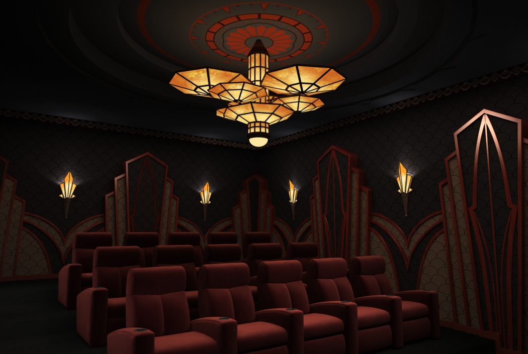 home theater art. art deco theme theater concept home