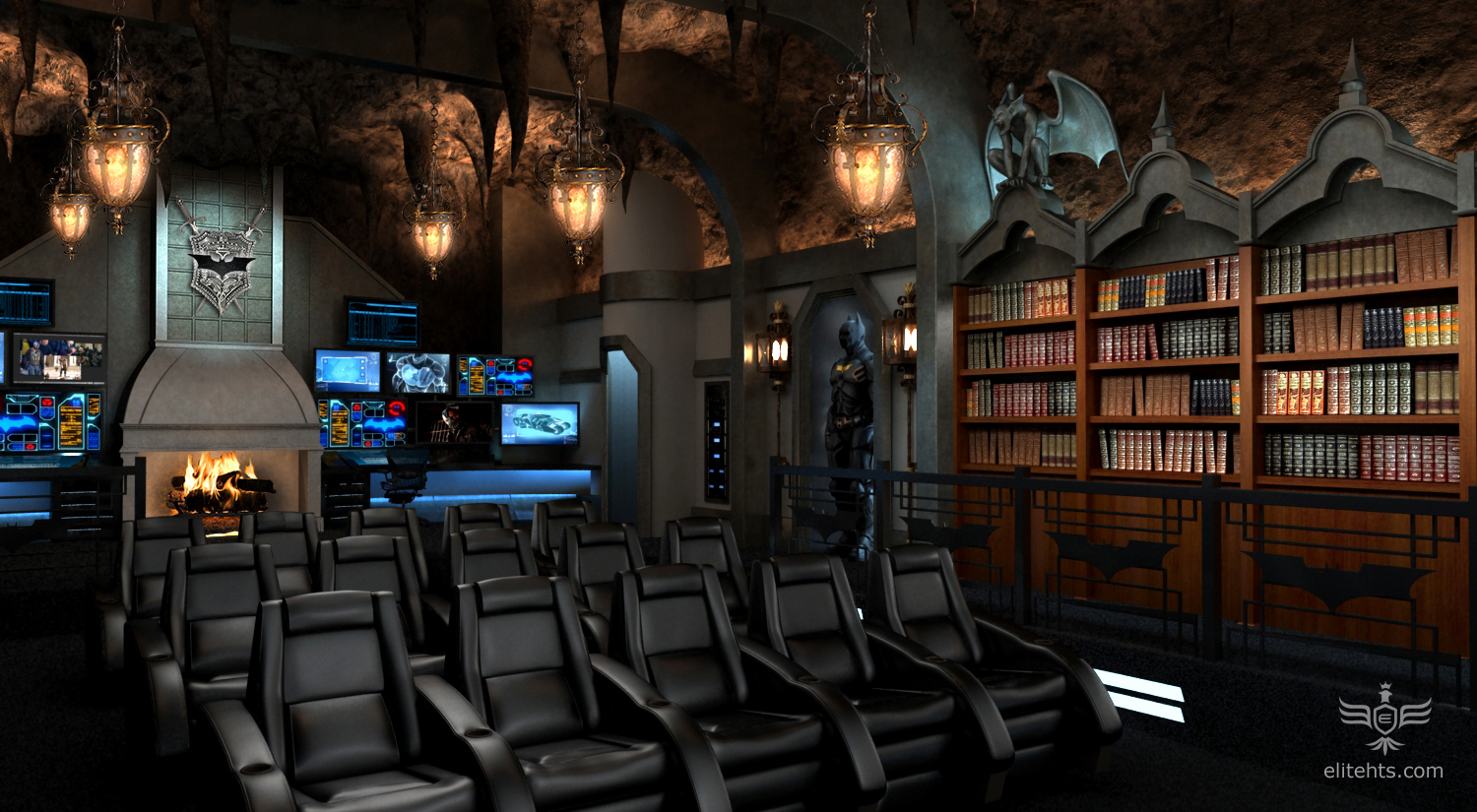 Dark Knight Theme Theater Concept. Home Theater Seating Designs   Elite Home Theater Seating